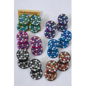 "Earrings Circle Acrylic Stones Clip On/DZ **Clip On** Size-1.5""x 1"" Wide,2 of each Color Asst,Earring Card & Opp Bag & UPC Code -"