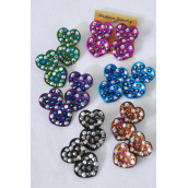 "Earrings Heart W Acrylic Stones Clip On/DZ **Clip On** Size-1""x 1.5"" Wide,2 of each Color Asst,Earring card & Opp bag & UPC Code -"