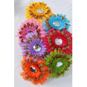 "Head Band Satin Daisy Flower Leopard Print/DZ Flower Size-4.5"" Wide,2 Orange,2 Lime,2 Pink,2 Blue,2 Yellow,1 Purple,1 Fuchsia,7 Color Asst,Hang Tag & UPC code,W Clear Box"