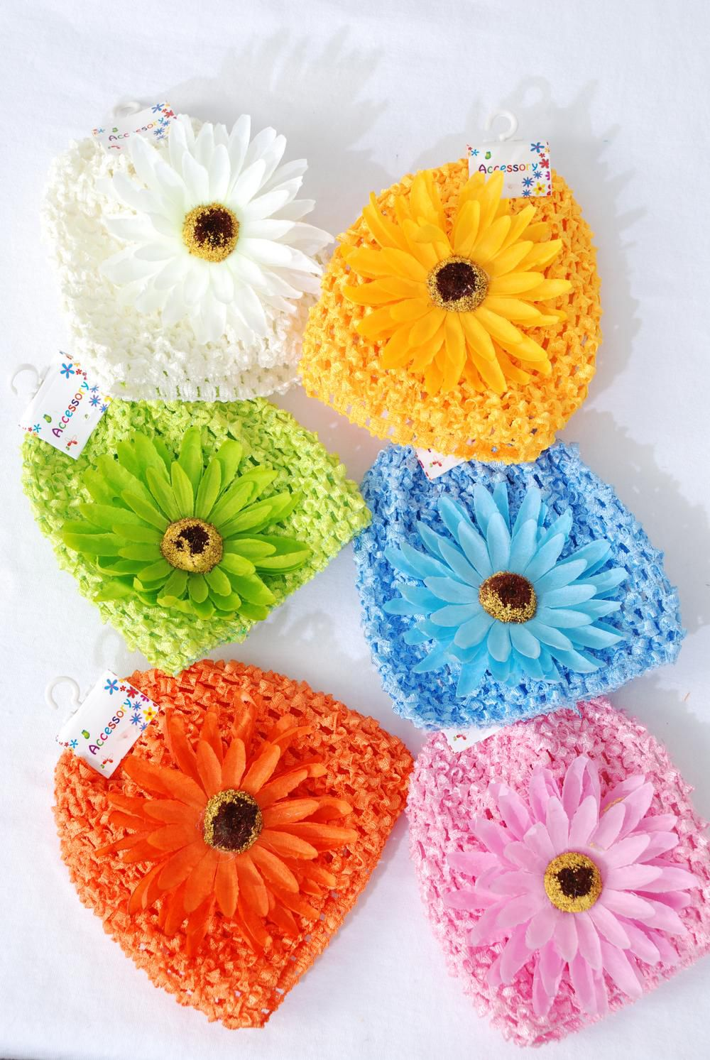 "Kufi Hat Knitted Beanie Stretch W Large Daisy flower Multi/DZ **Stretch** Flower Size-4.5"" Wide,2 Pink,2 Beige,2 Yellow,2 Blue,2 Apple Green,2 Orange Mix,Hang tag & UPC Code,Clear Box"