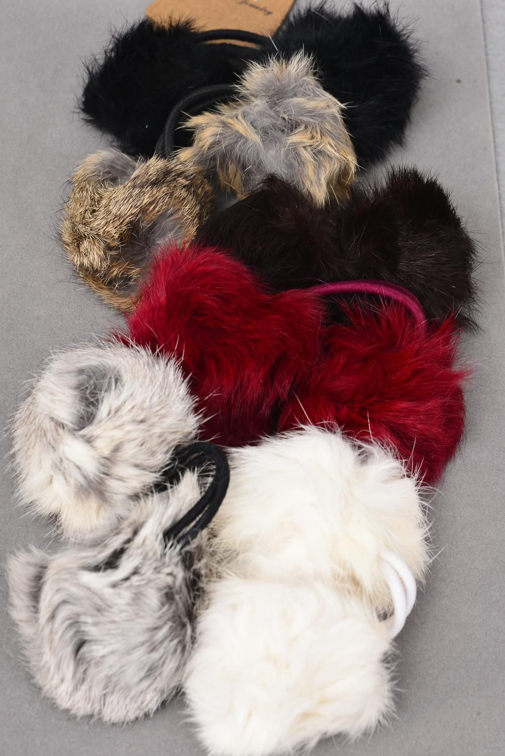 "Elastic Rabbit Fur Ball Natural Color Asst/DZ **Stretch** Fuer Size-3"" Wide,2 Of Each Color Asst,Hang Tag & OPP Bag"