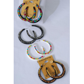 "Earrings Acrylic Fall Loop Color Stones/DZ **Post** Size-1.75"" Wide,3 Multi,3 White,3 Hematite,3 Smoke Topaz,4 Color Asst,Earring Card & Opp Bag & UPC Code"