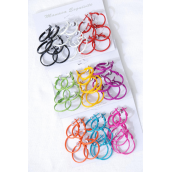 "Earrings 9 Pair Metal Color Hoop Lobster Catch/DZ **Post** Size-1"" Wide,4 of each Color Asst,Earring card & Opp bag & UPC Code,9 pair per Card,12 card=DZ -"