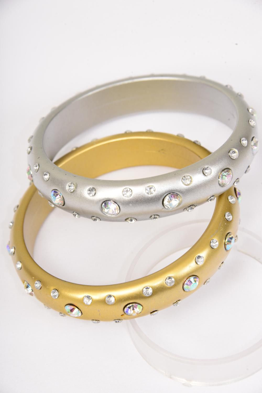 "Bangle Acrylic Fall Matte AB Stones Gold & Silver Mix/DZ Size-2.75""x 0.75"" Dia Wide,6 Gold & 6 Silver Mix,Hang tag & Opp bag & UPC Code -"
