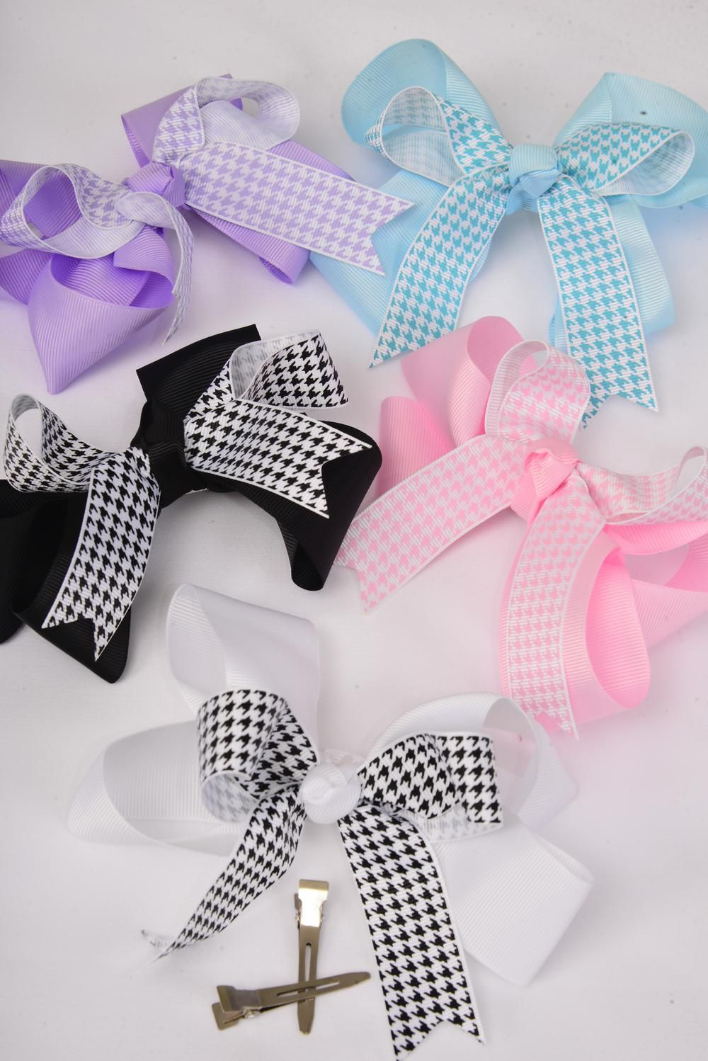 "Hair Bow Large Houndtooth Long Tail Grosgrain Bow-tie/DZ **Alligator Clip** Size-6""x 5"" Wide,3 Black,3 White,2 Pink,2 Blue,2 Lavender,5 Color Asst,Clip Strip & UPC Code."
