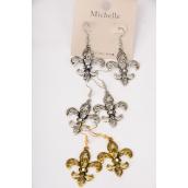 "Earrings Fleur De Lis Symbol Metal Antique Finish/DZ **Fish Hook** Size-1.5"" x 1.25"" Wide,Fish Hook,6 Gold & 6 Silver Mix,Earring card & OPP bag & UPC code -"
