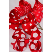 "Hair Bow Jumbo Red Polkadots Mix Alligator Clip Grosgrain Bow-tie/DZ **Red Polka-dot Mix** Alligator Clip,Size-6""x 5"" Wide,4 of each Pattern Mix,Clip Strip & UPC Code-"