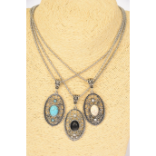 "Necklace Silver Chain Oval Filigree Pendant Semiprecious Stone/DZ match 02665 Pendant-1.5""x 1"" Wide,Chain-18"" Extension Chain,4 Ivory,4 Black,4 Turquoise Asst,Hang Tag & OPP Bag & UPC Code"