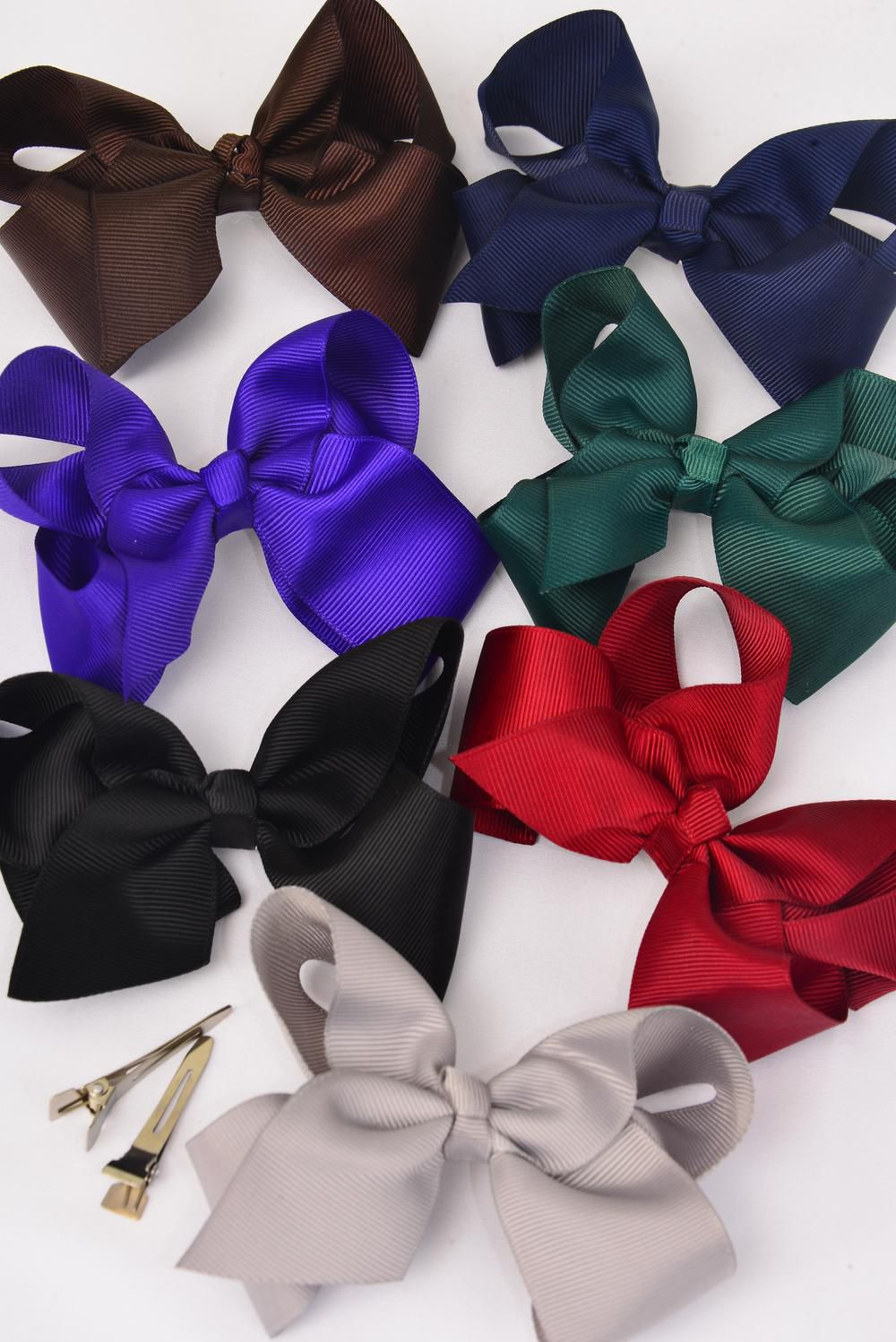 "Hair Bow Large 4""x 3"" Wide Dark Multi Alligator Grosgrain Fabric Bow-tie/DZ **Dark Multi** Alligator Clip, Size-4""x 3"" Wide,2 Black,2 Brown,2 Purple,2 Burgundy,2 Navy,1 Hunter Green,1 Gray,7 Color Asst,Clip Strip & UPC Code."