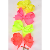 "Hair Bow Large 4""x 3"" Wide Neon Alligator Clip Grosgrain Bow-tie/DZ **Neon Mix** Alligator Clip,Size-4""x 3"",3 of each Coloe Asst,Clip Strip & UPC Code"