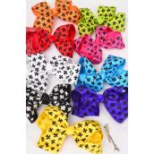 "Hair Bow Fleur Delis Extra Jumbo Alligator Clip Grograin Bowtie/DZ **Multi** Alligator Clip,Size--6x 5"" Wide,2 Black,2 White,2 Fuchsia,1 Yellow,1 Red,1 Blue,1 Purple,1 Lime,1 Orange mix,W Clip Strip & UPC Code"