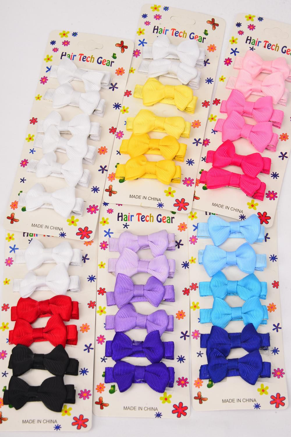 "Hair Bow Grosgrain Bow-tie 6 pecs Multi Alligator Clip/DZ **Multi** Bow-tie Size-2""x 1"",2 of each Color Mix,Display card & OPP bag & UPC Code,6 pecs per Card,12 Card=Dozen -"