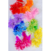 "Flowers 24 pcs Alligator Clip Feather & Flowers/DZ **Citrus** Alligator Clip,Flower Size-2.75"" Wide,2 REd,2 Lavender,2 Pink,2 Orange,1 Fuchsia,1 Blue,1 Yellow,1 Lime,8 Color Asst"