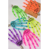 """Hair Clip Skeleton Hand Glow In The Dark/DZ ** Alligator Clip** Size-4.5""""x 3"""",2 of each Color Asst,Hang Card & Individual OPP Bag & UPC Code"""