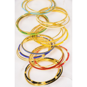 "Bangles Metal Layered 48 pcs Gold Color Bead Mix/DZ **Multi** Size-2.75"" Dia Wide,2 Black,2 White,2 Blue,2 Red,2 Yellow,1 Green,1 Orange Mixt,Hang Tag & OPP Bag & UPC Code,4 pcs per card,12 card= DZ"