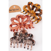 Jaw Clip Acrylic 10 cm Wide Tortoise Leopard Glitters/DZ Size-10 cm Wide, Mix,4 Of each Color Asst,Hang Tag & OPP bag & UPC Code