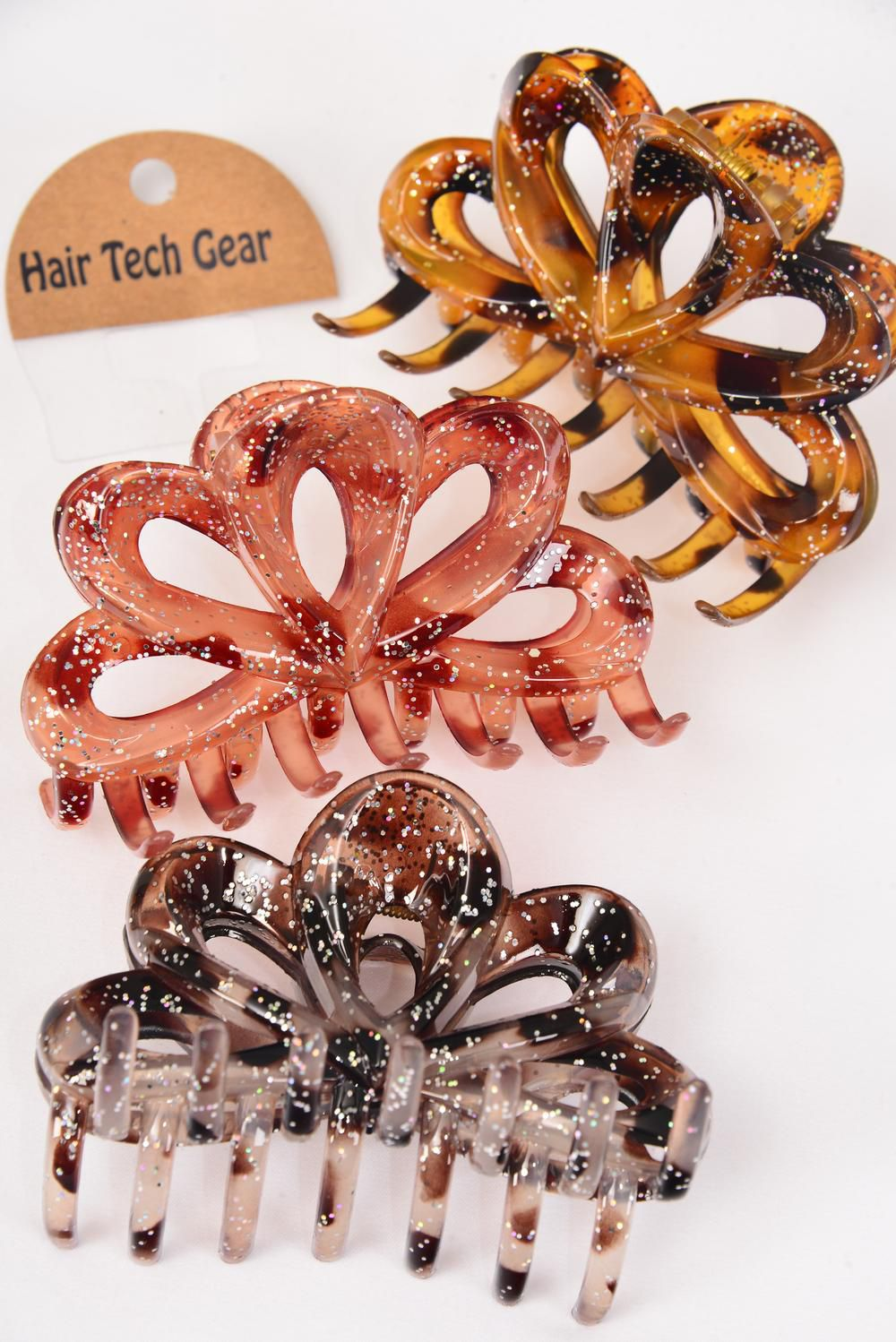 Jaw Clip Acrylic 10 cm Wide Leopard Glitters/DZ Size-10 cm Wide, Mix,4 Of each Color Asst,Hang Tag & OPP bag & UPC Code