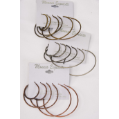 "Earrings 3 Pair Antique Loop Mix Design/DZ **Post** Size-1"" 2"" 2.25"" 3 Size Mix,4 of each Color Asst,Earring Card & OPP Bag & UPC Code,3 pair per card,12 Card=Dozen -"
