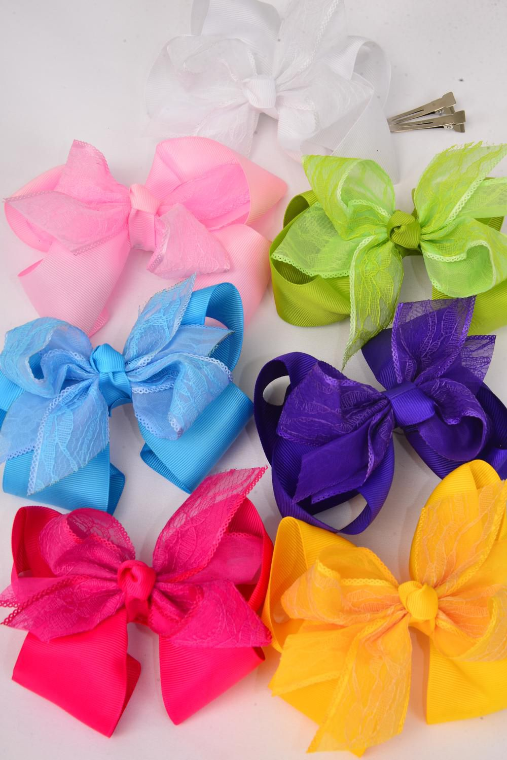 "Hair Bow Large Double Layer Lace Bowtie Alligator Clip Grograin/DZ **Citrus** Alligator Clip,Size-6""x 5"" Wide,2 White,2 Yellow,2 Blue,2 Fuchsia,2 Purple,1 Baby Pink,1 Lime,7 Color Asst,UPC Code,Clear Strip"