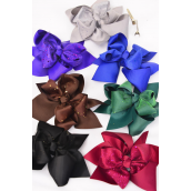"Hair Bow Large Dark Multi Center Metallic Alligator Clip/DZ **Dark Multi** Bow Size-6""x 5"" Wide,2 Black,2 Royal,2 Brown,2 Hunter,2 Purple,1 Burgundy,1 Gray,7 Color Asst,Clip Strip & UPC Code"