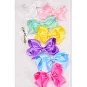 "Hair Bow Large Satin 4""x3"" Wide Pastel Asst/DZ **Pastel** Alligator Clip, Size-4""x 3"" Wide,2 White,2 Pink,2 Blue,2 Lavender,2 Yellow,1 Green,1 Hot Pink,7 Color Asst,Clip Strip & UPC Code"