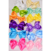 "Hair Bow Large Satin 4""x3"" Wide Rainbow Mix/DZ **Rainbow** Alligator Clip, Size-4""x 3"" Wide,12 Color Asst,Clip Strip & UPC Code"