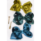 "Hair Bow Large Satin 4""x 3"" Wide Hunter Green Mix/DZ **Hunter Green Mix** Alligator Clip, Size-4""x 3"" Wide,4 of each Color Asst,Clip Strip & UPC Code"