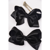 "Hair Bow Large Satin 4""x 3"" Wide Black Satin/DZ **Black** Alligator Clip, Size-4""x 3"" Wide,4 of each Color Asst,Clip Strip & UPC Code"