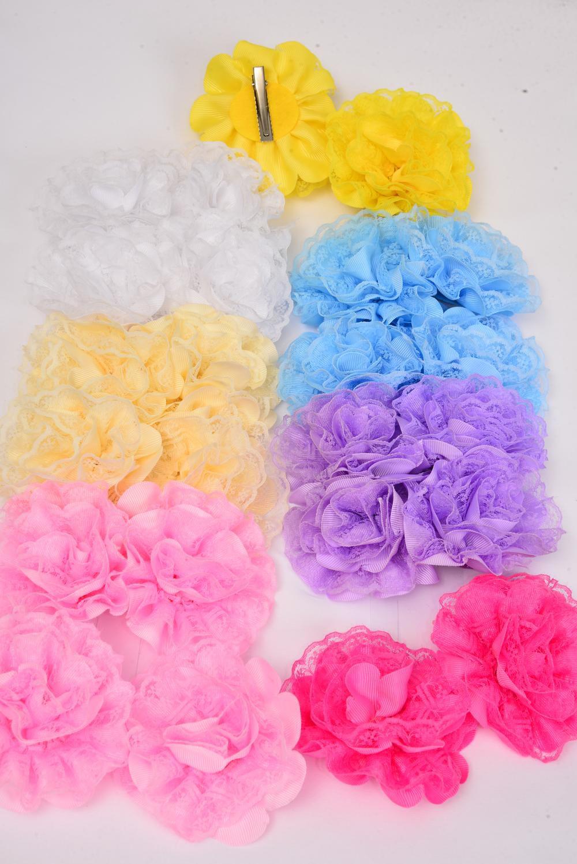 de5985ead2 Hair Bows 24 pcs Pastel Lace Flower 24 pecs Alligator Clip/DZ **Pastel