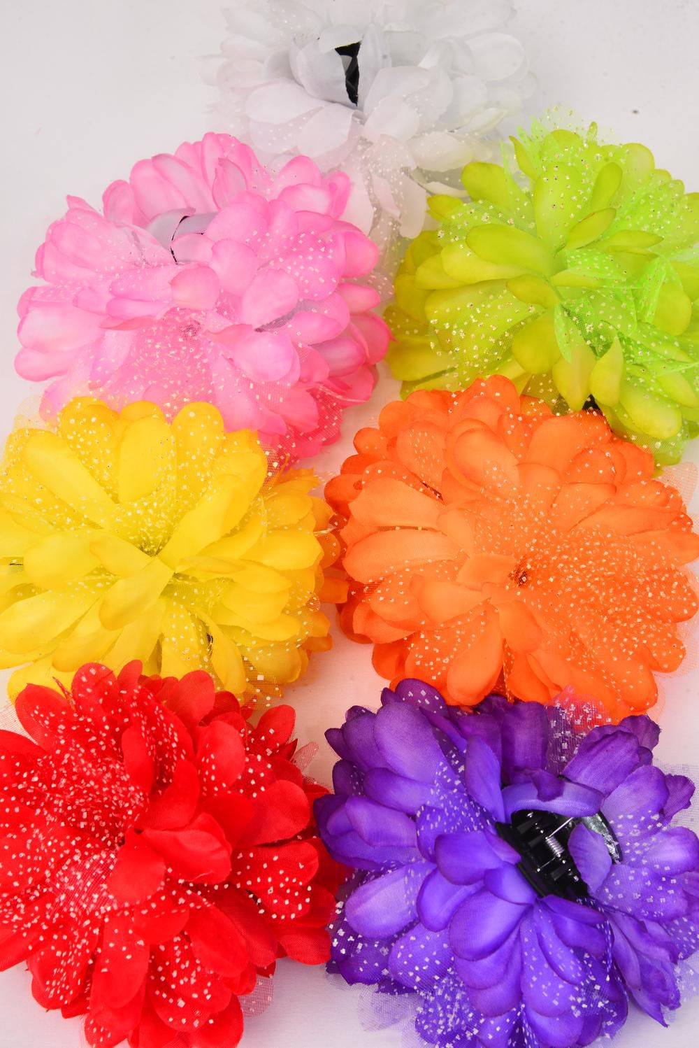 "Jaw Clip Flower Bouquet Baby Breath/DZ Flower Size-5.5"" Wide,Jaw Clip-3.5"" Wide,2 Red,2 Yellow,2 Purple,2 Pink,2 White,1 Orange,1 Lime,7 Color Mix,Hang Tag & UPC Code,W Clear Box -"