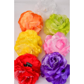 "Jaw Clip Flower Jumbo Rose Polkadots/DZ Flower Size-5.5"" Wide,Jaw Clip-3.5"" Wide,2 Red,2 Yellow,2 Purple,2 Pink,2 White,1 Orange,1 Lime,7 Color Mix,Hang Tag & UPC Code,W Clear Box"