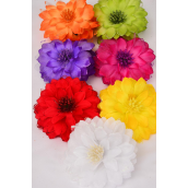 "Jaw Clip Flower Bouquet Glitter Trims/DZ Flower Size-5.5"" Wide,Jaw Clip-3.5"" Wide,2 Red,2 Yellow,2 Purple,2 Fuchsia,2 White,1 Orange,1 Lime, 7 Color Asst,Hang Tag & UPC Code,W Clear Box -"