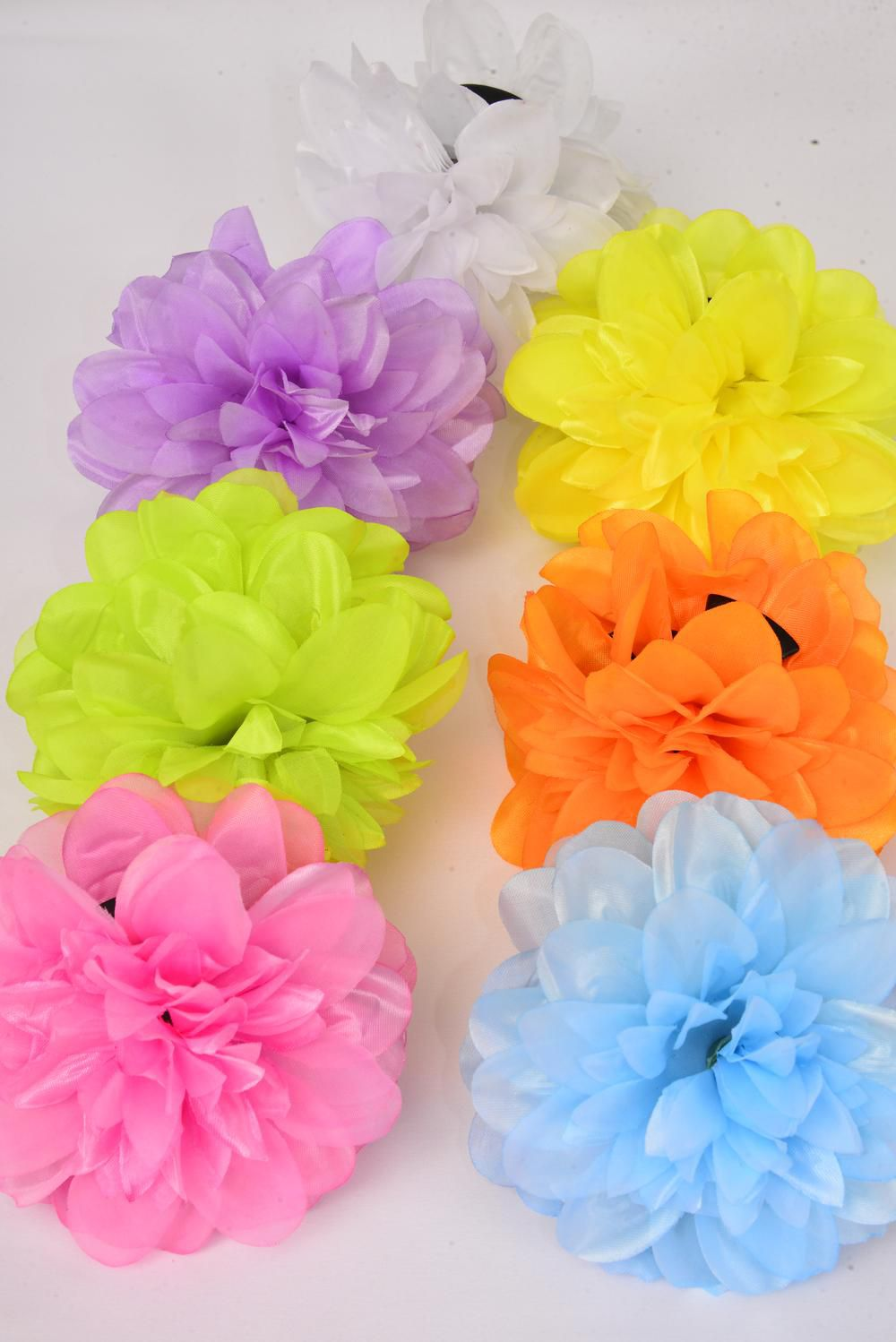"Jaw Clip Flower Bouquet Caribbean Neon Color Asst/DZ Flower Size-5.5"" Wide,Jaw Clip-3.5"" Wide,2 Pink,2 Purple,2 Orange,2 White,2 Turquoise,1 Yellow,1 Lime,7 Color Asst,Hang Tag & UPC Code,W Clear Box"