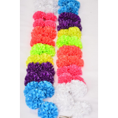 "Hair Bow 24 pcs Flower Grosgrain Caribbean Neon Sequin All Around/DZ **Caribbean Neon ** Alligator Clip,Size-3"" Wide,2 White,2 Pink,2 Purple,2 Blue,2 Orange,1 Lime,1 Yellow,7 Color Asst,Clip Strip & UPC Code"