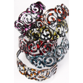 "Headband Horseshoe Acrylic Circle Marble Look Color Asst/DZ **Dark Multi** Size-2"" Wide,2 of each Color Asst,Hang tag & Opp Bag & UPC Code -"