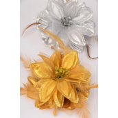 "Jaw Clip Flower Metallic Gold & Silver Mix/DZ Flower Size-5.5"" wide,6 Gold & 6 Silver Mix, Hang card & UPC Code,W clear Box"