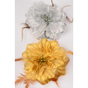 "Jaw Clip Metallic Flower Feather & Chiffon Asst Gold & Silver Mix/DZ Flower Size-5.5"" Wide,6 Gold & 6 Silver Mix,Hang card & UPC Code,W Clear Box"