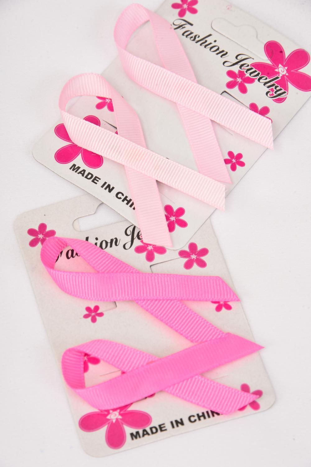 "Brooch Pink Ribbons Grosgrain Fabric 24 pecs/DZ Size-2.5""x 1.25"" Wide,6 Hot Pink,6 Baby Pink Mix,Display Card & UPC Code,Clear Box,2 pecs per Card,12 Card=Dozen"