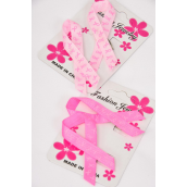 "Brooch Pink Ribbons Grosgrain Fabric Print 24 pecs/DZ Size-2.5""x 1.25"" Wide,6 Hot Pink,6 Baby Pink Mix,Display Card & UPC Code,Clear Box,2 pecs per Card,12 Card=Dozen"