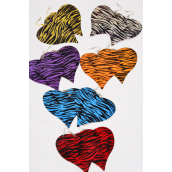 "Earrings Metal Heart Multi Zebra Print/DZ **Zebra** Size-2.5""x 2.5"" Wide,2 of each Color Asst,Earring card & OPP Bag & UPC Code -"