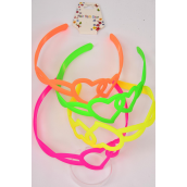 "Headband Horseshoe Acrylic Heart Neon Color Asst/DZ Heart Size-1.75""x 2"" Wide,3 of each Color Asst,Hang tag & UPC Code"