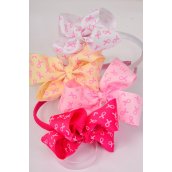 "Head Band Horseshoe Pink Ribbons Grosgrain Bowtie/DZ Size-6""x 5"" Wide, 4 Hot Pink, 4 Baby Pink, 2 Beige, 2 White Asst,Individual Hang Tag & UPC Code, Clear Box"
