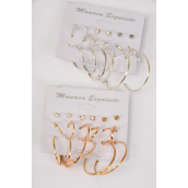 Earrings 9 pair Studs & Mini Loops Mix/DZ Loop Size-16 mm 22 mm 27 mm 33 mm Wide,6 Gold & 6 Silver mix,each card has 9 pair earrings,12 card=Dozen,Earring Card & OPP bag & UPC