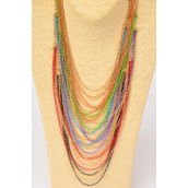 "Necklace Trandy Style Gold Chain Color Chain Mix/DZ Size-18"" Long,2 Black,2 Red,2 Blue,2 Purple,2 Green,2 Orange,6 Color Mix,Hang Tag & OPP Bag & UPC Code"