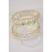 "Bangle Acrylic Transparent AB Color/DZ Size-2.75"" x 1"" Dia Wide,Hang Tag & Opp bag & UPC Code"