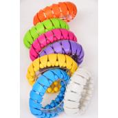 "Bracelet Acrylic Citrus Art Look Stretch/DZ **Stretch** Size-Width 1"" Dia Wide,1 Fuchsia,2 Blue,2 White,2 Yellow,2 Orange,1 Lime,1 Purple,7 Color Asst,Hang tag & OPP Bag & UPC Code"
