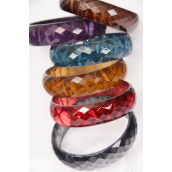 "Bangle Acrylic Fall Diamond Cut Zebra Print/DZ Size-2.75"" x 1"" Wide,2 of each Color Asst,Hang Tag & OPP Bag & UPC Code"