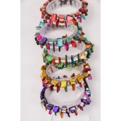 Bracelet  Real Seashell & Beads Mix Stretch/DZ **Stretch** 2 of each Color Asst,Hang Tag & OPP Bag & UPC Code,2 pcs per Tag,12 tag=DZ