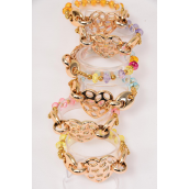 "Bracelet Rose Gold Chain Style & Acrylic Beads Stretch/DZ **Stretch** Heart Size-1.5""x 1.25"" Wide,2 Multi,2 Purple,2 Pink,2 Blue,2 Orange,1 Lime,1 Yellow Mix,hang Tag & OPP bag & UPC Code"