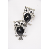 "Rings Owl Black Poly Antique Finish/DZ **Stretch** Owl Size-1.25""x 2"" Wide,1 Dz Velvet Ring Display Window Box,OPP bag & UPC Code"